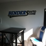 Bender's Auto Care Sign on wall in waiting room