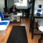 Denise enjoying her new office at Benders Auto care