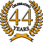 44 Years in Business Anniversary Emblem